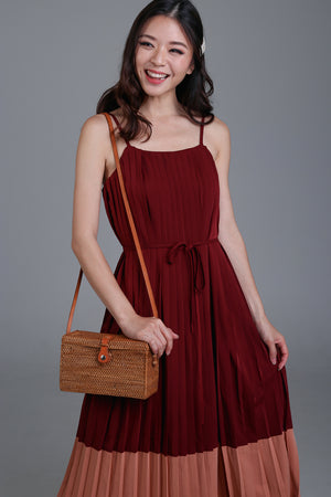 Florence Pleated Colorblock Dress in Wine