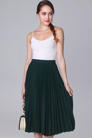 Restocked* Corinne Pleated Skirt in Emerald