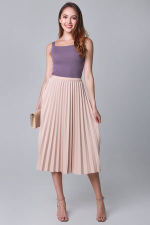 Restocked* Corinne Pleated Skirt in Nude