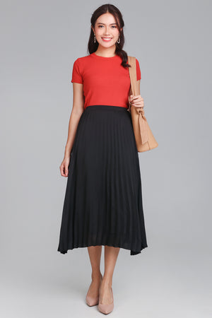 Alice Pleated Skirt in Black