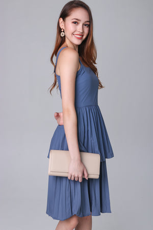 Harmony Pleated Tier Dress in Ash Blue