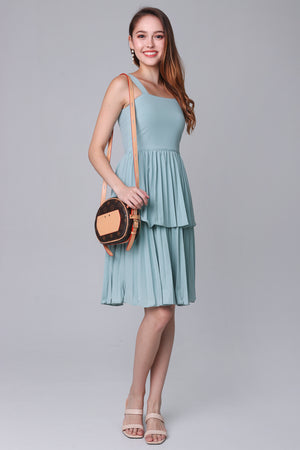 Harmony Pleated Tier Dress in Mint Green