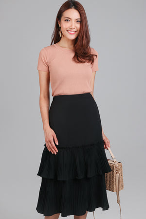 Restocked* Tango Pleated Tier Skirt in Black
