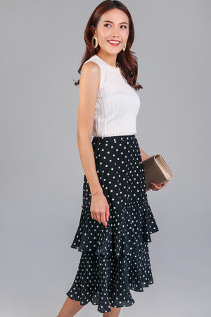Restocked* Tango Pleated Tier Skirt in Black Polkadot