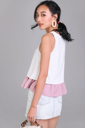 Plot Twist Peplum Top in Pink (Reversible)
