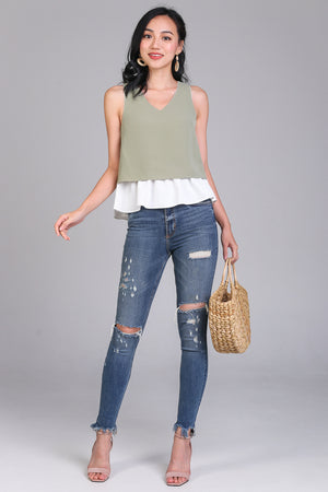 Plot Twist Peplum Top in Sage (Reversible)