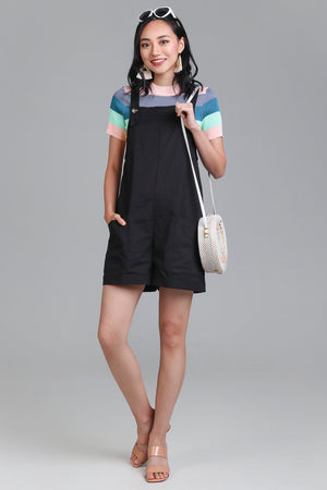 Pocket Dungarees in Black