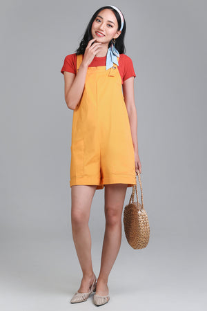 Pocket Dungarees in Yellow