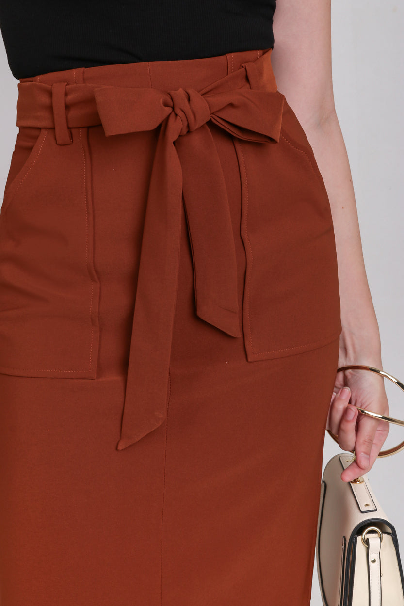 Pocket Midi Skirt in Camel