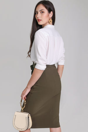 Pocket Midi Skirt in Olive