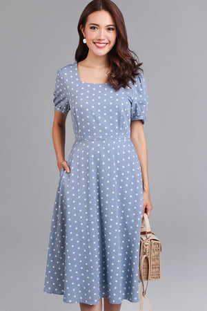 Dorothy Polkadot Vintage Dress in Blue Grey