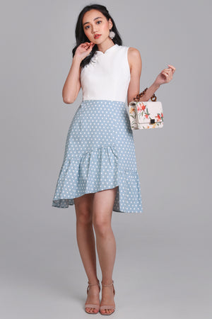 Polkadot Knot Button Cheongsam in White/Sky