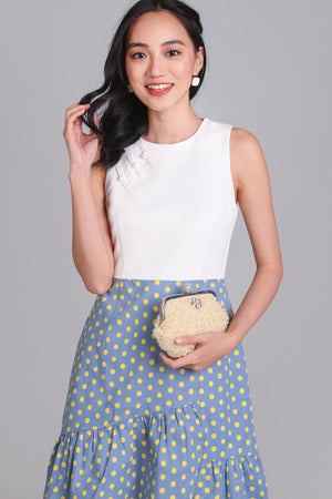 Polkadot Knot Button Cheongsam in Blue/Yellow