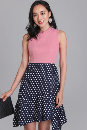 Polkadot Knot Button Cheongsam in Pink/Navy