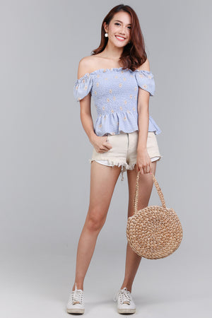 Field of Daisies Smocked Top in Sky