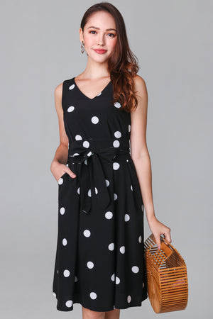 Dottie Sash Dress in Black