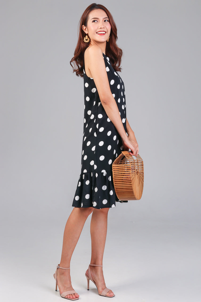 Polkadot Drophem Dress in Black