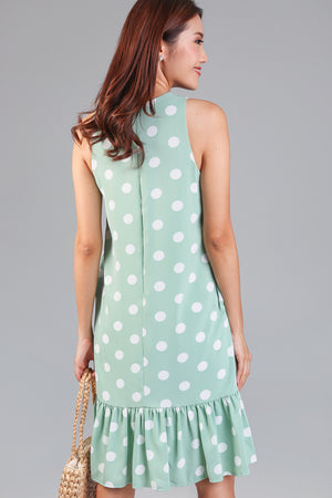 Polkadot Drophem Dress in Pistachio