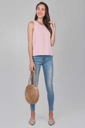 Floral Tank Top in Pink Polkadots (Reversible)