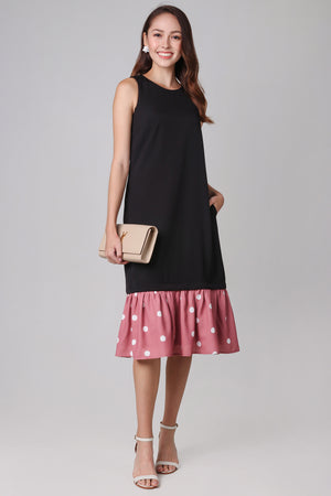 Polkadots Drophem Dress in Black (2-Way)