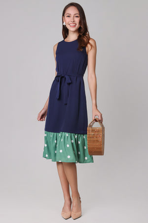 Polkadots Drophem Dress in Navy (2-Way)
