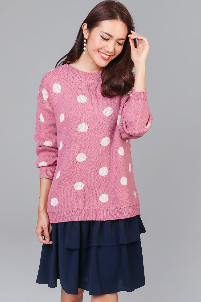 Polka Dotty Knit Sweater in Pink