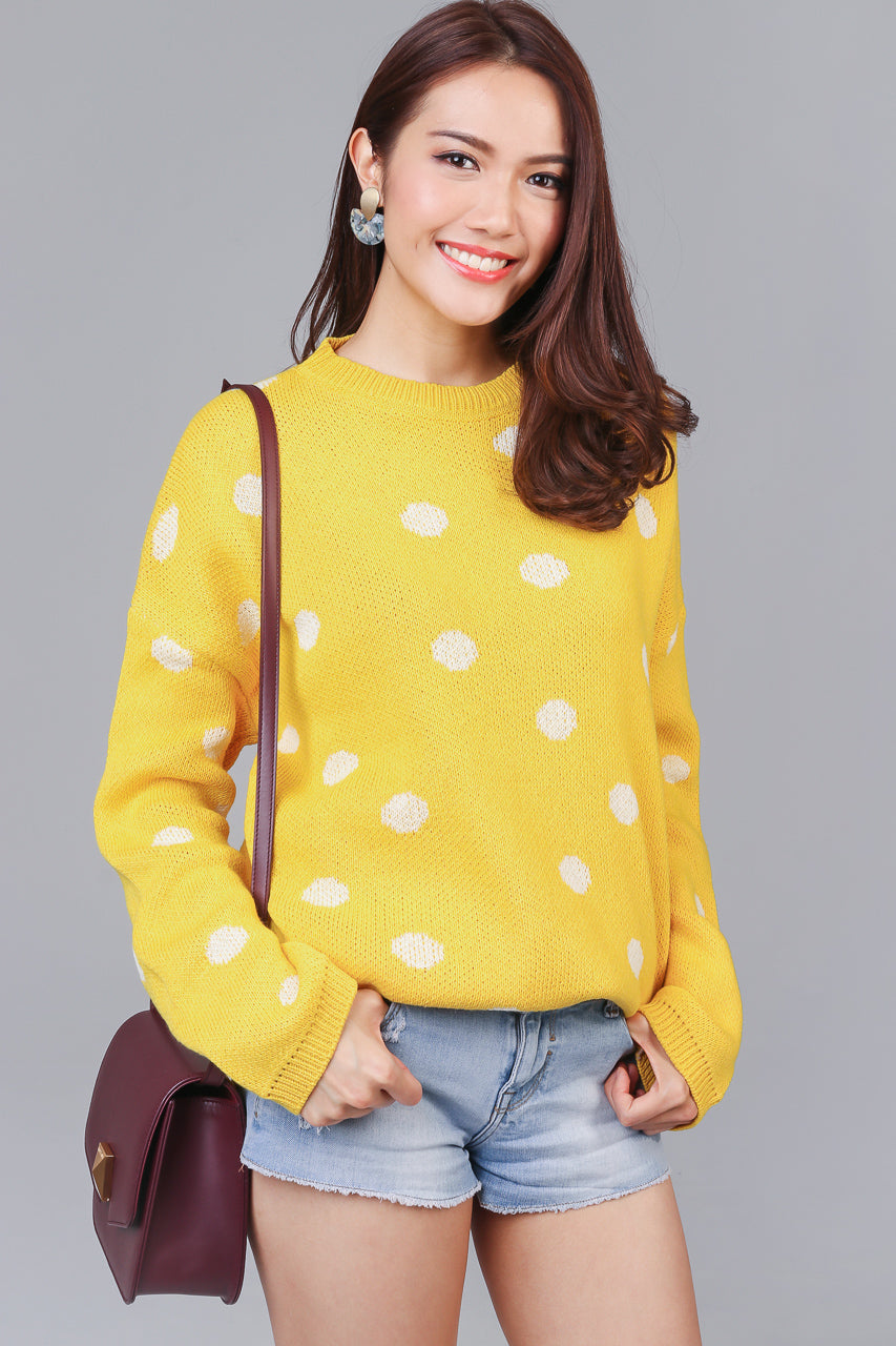 Polka Dotty Knit Sweater in Yellow