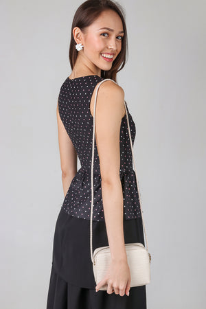 Polkadots Peplum Top & Dress in Black (2-Way)