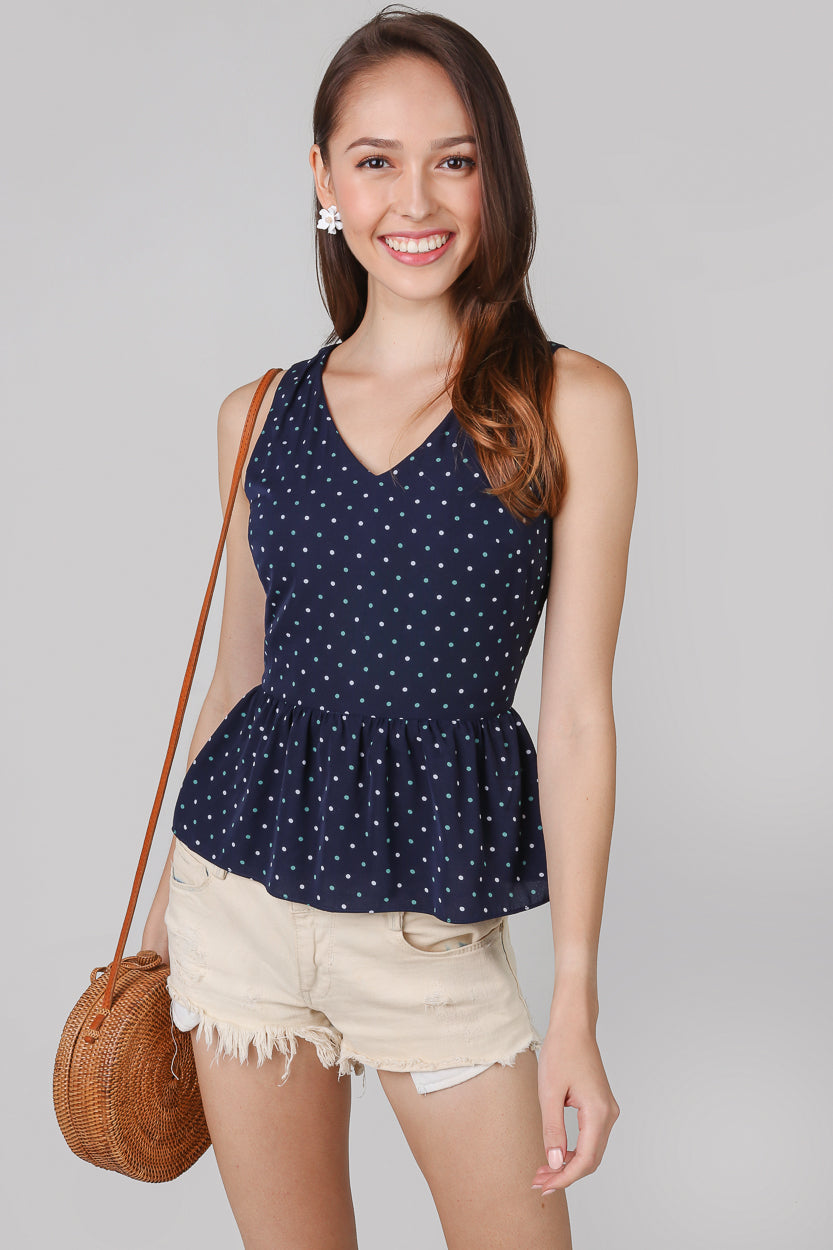 Polkadots Peplum Top & Dress in Navy (2-Way)