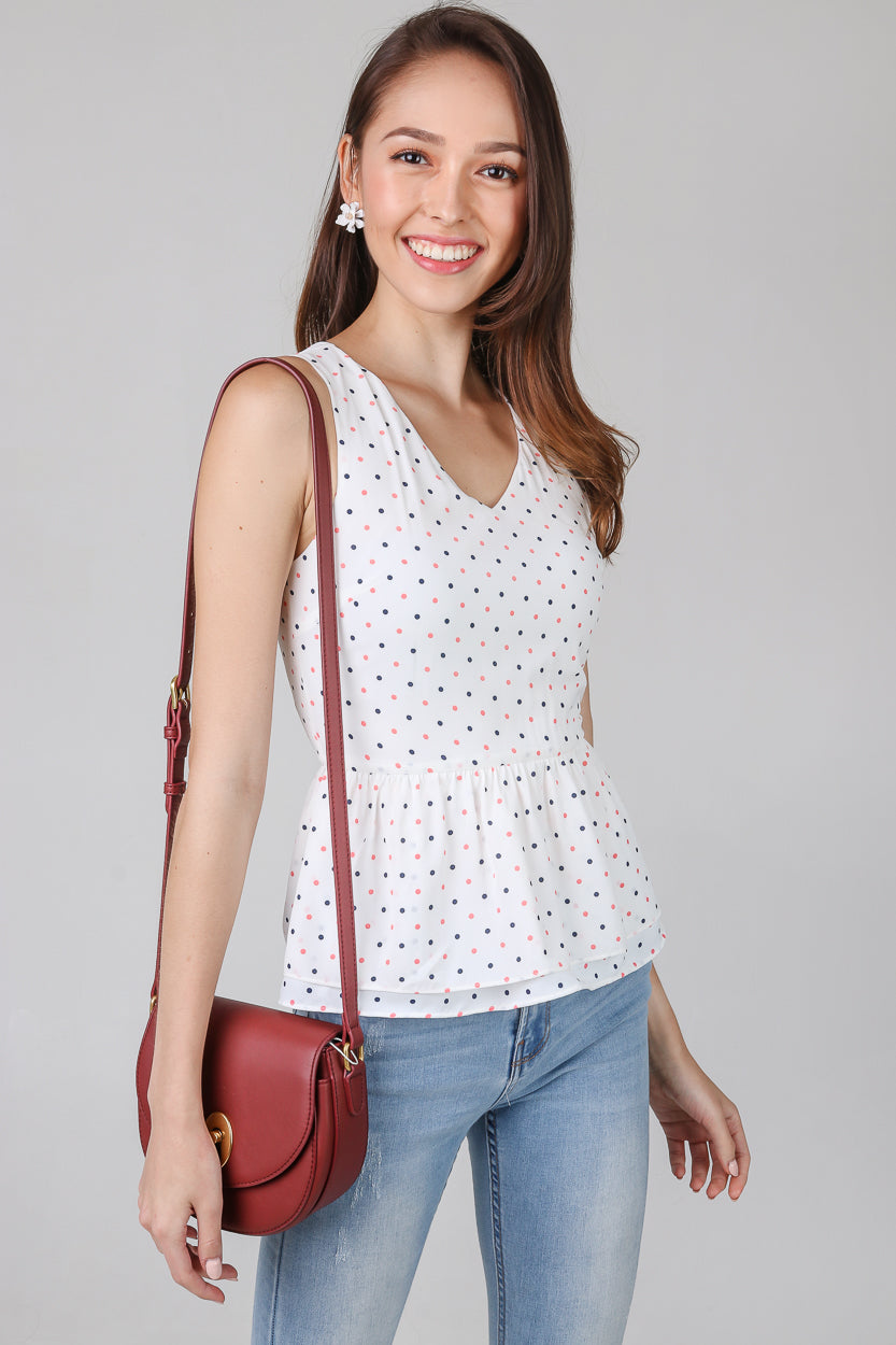 Polkadots Peplum Top & Dress in White (2-Way)