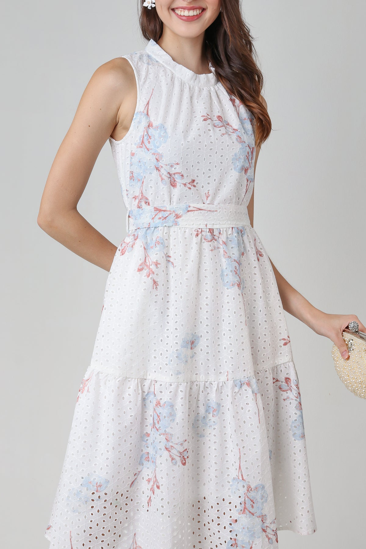 Porcelain Beauty Eyelet Dress in Plum
