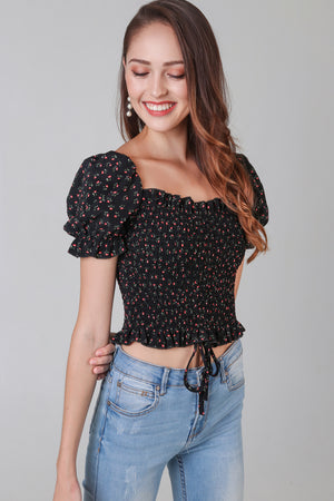 Restocked* Posie Floral Smocked Top in Black
