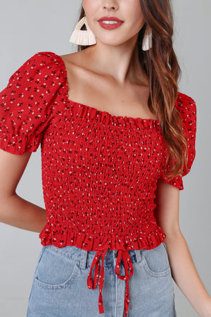 Restocked* Posie Floral Smocked Top in Red