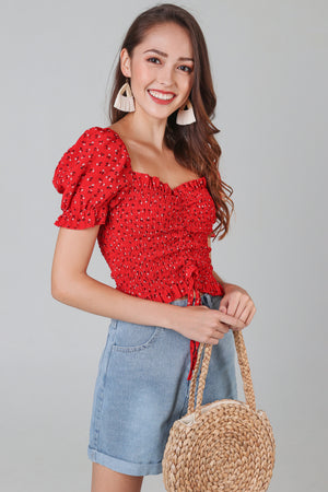 Backorder* Posie Floral Smocked Top in Red