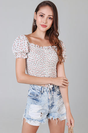 Backorder* Posie Floral Smocked Top in White