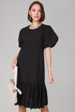 Backorder* Annabella Swiss Dots Dress in Black