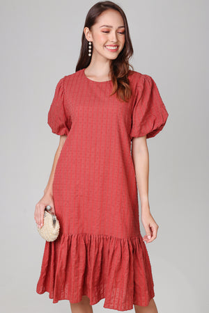 Annabella Swiss Dots Dress in Brick