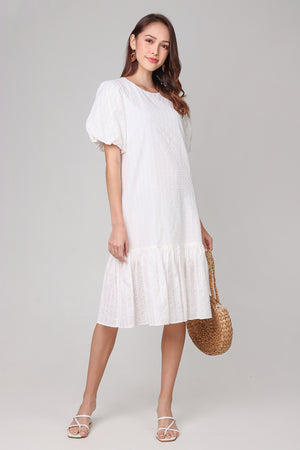 Backorder* Annabella Swiss Dots Dress in White