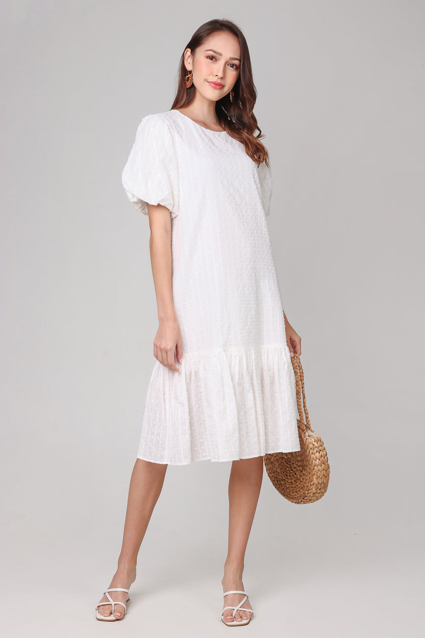 Restocked* Annabella Swiss Dots Dress in White