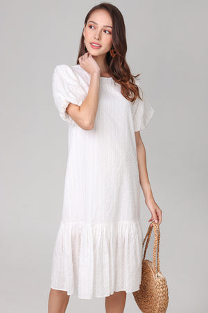 Annabella Swiss Dots Dress in White
