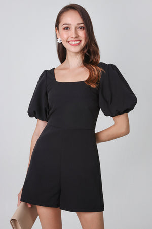 Maya Pouf Sleeve Romper in Black