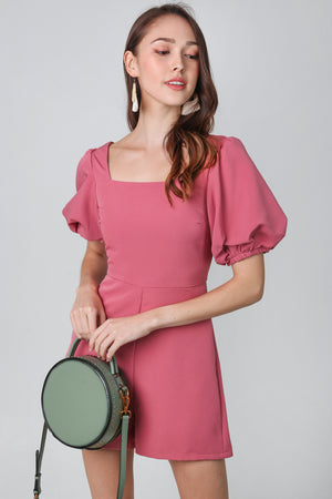 Maya Pouf Sleeve Romper in Rose Pink