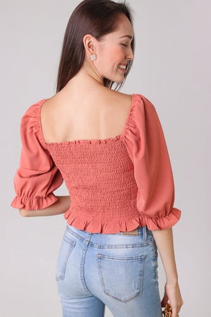 Restocked* Aristocrat Smocked Top in Tea Rose