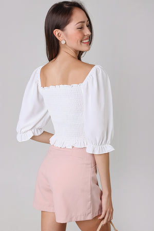 Backorder* Aristocrat Smocked Top in White