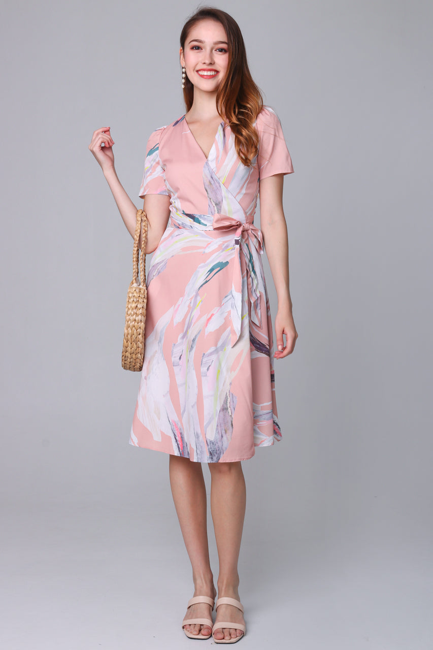Aurora Abstract Wrap Dress in Apricot