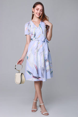 Aurora Abstract Wrap Dress in Lilac Sky