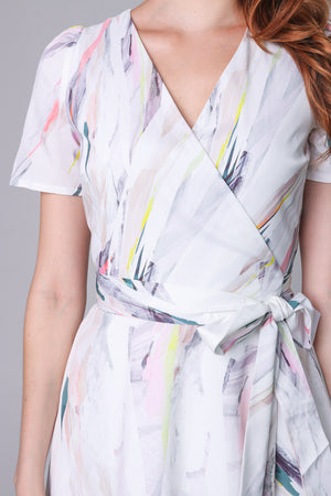 Aurora Abstract Wrap Dress in White