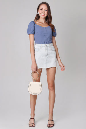 Felicity Puffy Sleeves Top in Dusty Blue