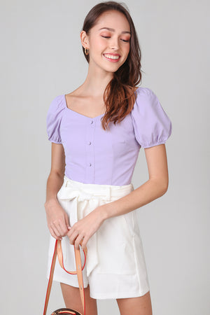 Felicity Puffy Sleeves Top in Lilac