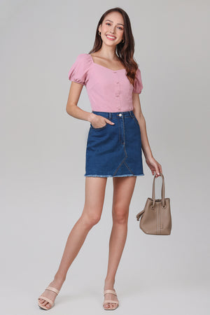 Mikaela Denim Skirt in Dark Wash
